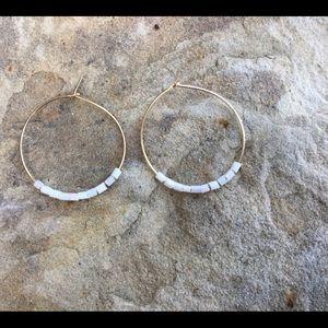 Sleek Gold Hoops with Mini Glass Beads